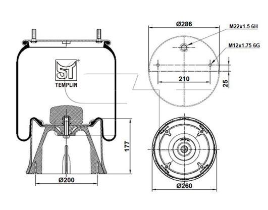 Luftfederbalg passend für SAF 2923VK / SAF 2924V