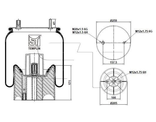 Luftfederbalg passend für Fruehauf 1T15MPW-7