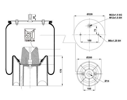 Luftfederbalg passend für Schmitz-Cargobull 1 DK 23 L-1