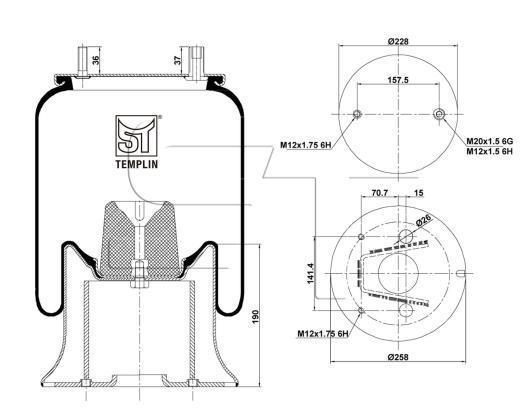 Luftfederbalg passend für Fruehauf 1T15M9 mit Stahlkolben